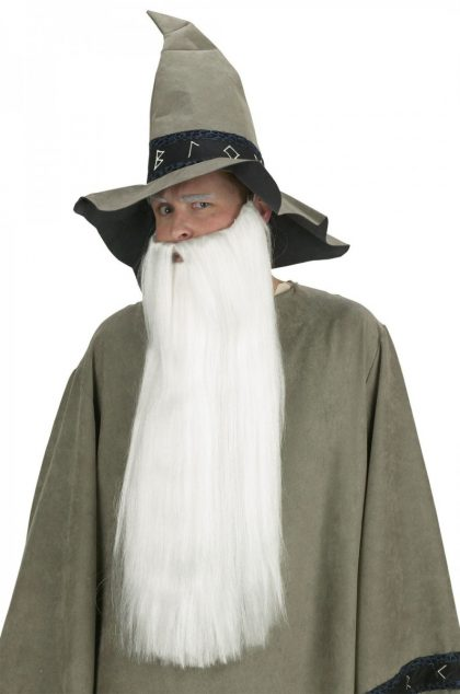 Extra Long Beard with Mustache - White