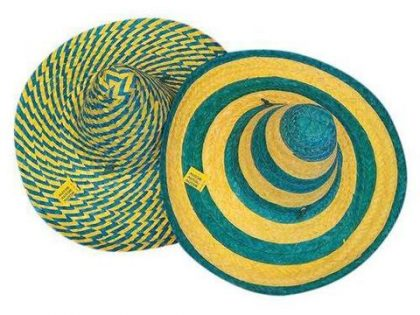 Mexican Hat - Green & Gold Straw