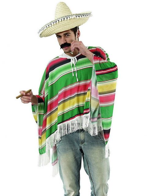 Mexican Poncho Yellow Green Mens Costume