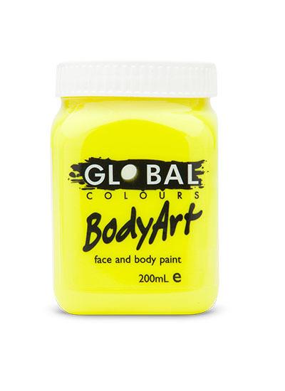 Neon Yellow - UV Face & Body Paint Liquid 200ml (Fluoro Yellow)