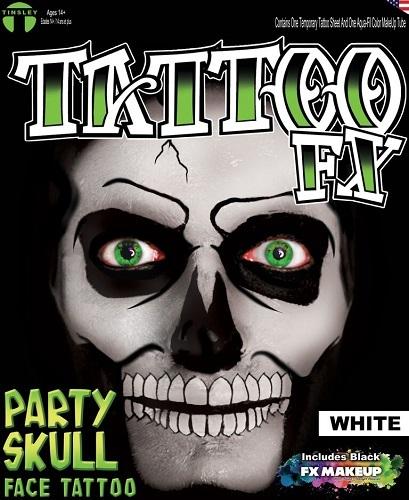 Party Skull Tattoo - White