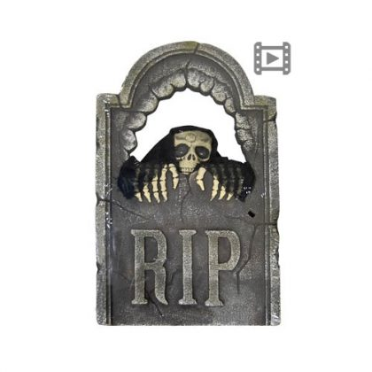 Peeping Skull Tombstone with Light Up Eye