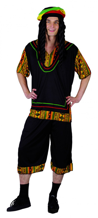RASTA MAN COSTUME INCLUDING WIG