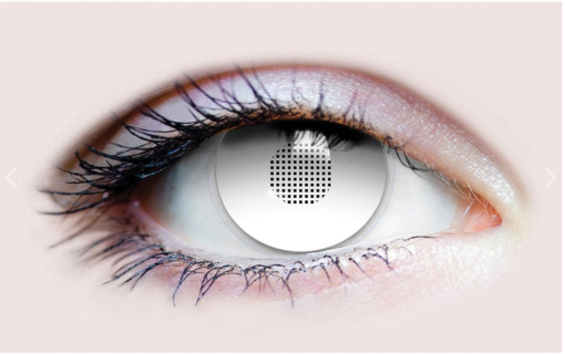 scary white mesh contact lenses