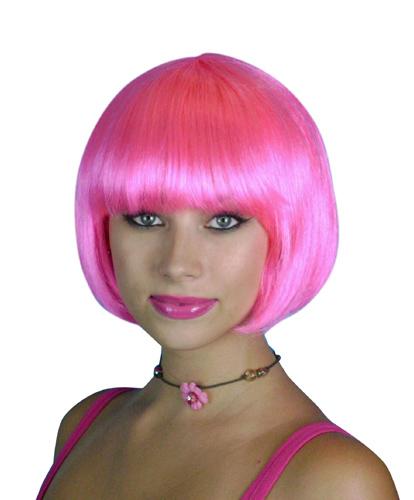 Wig- Hot Pink Short Bob - Deluxe