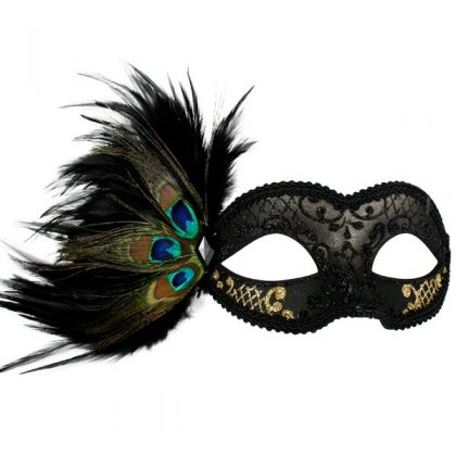 ADRIANNA Black & Gold Peacock Feather Eye Mask