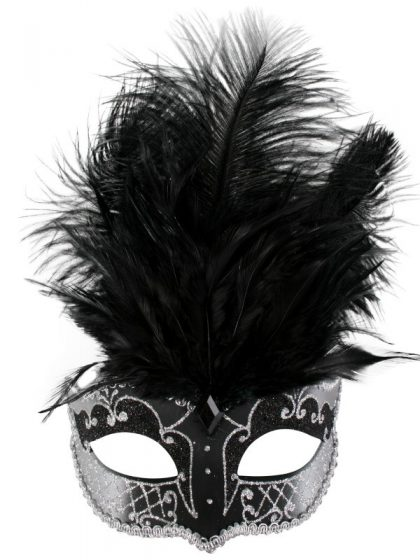 CARMELA Black & Silver with Feathers Eye Mask
