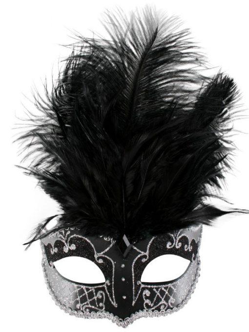CARMELA Black & Silver with Feathers Eye Mask