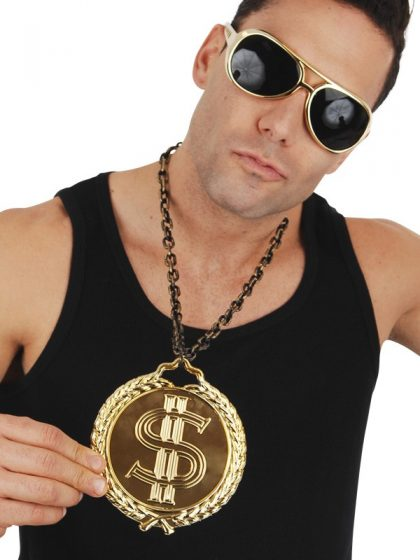 Dollar Sign Medallion 12cm on Chain Gold