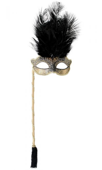 JOSEPHINE Black with Stick & Feathers Eye Mask