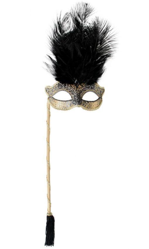 JOSEPHINE Black with Stick & Feathers Eye Mask