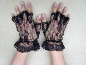 Lace Glove Half Finger Black