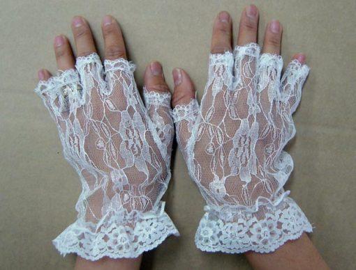 Lace Glove Half Finger White