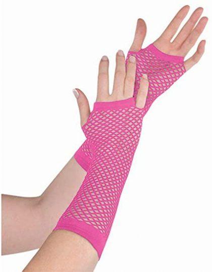 Long Fishnet Gloves Pink