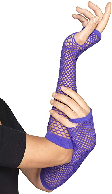 Long Fishnet Gloves Purple