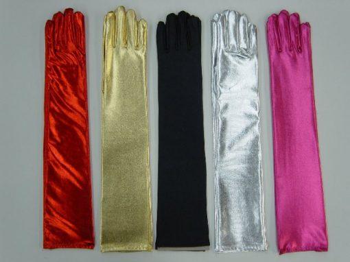 Long Metalic Gloves Silver