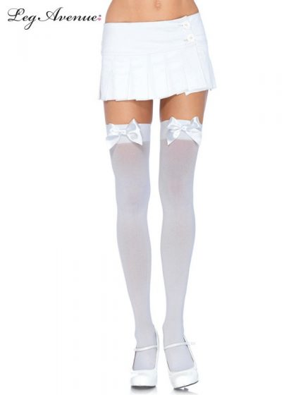 OPAQUE THIGH HIGHS WITH SATIN BOW O-S WHITE