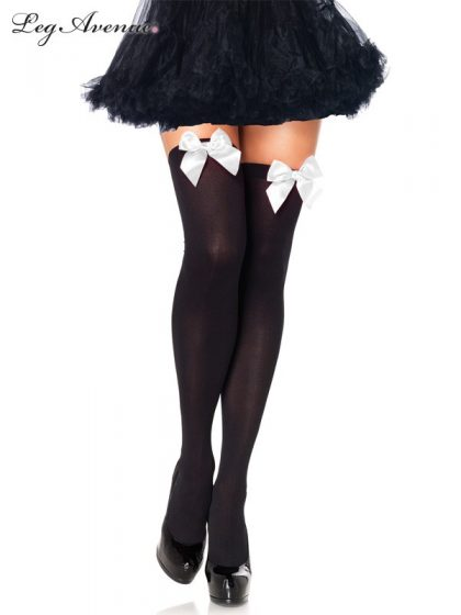OPAQUE THIGH HIGHS WITH SATIN BOW O-S WHITE-BLACK