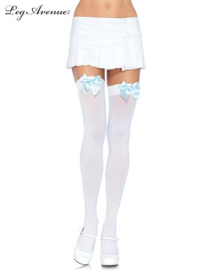OPAQUE THIGH HIGHS WITH SATIN BOW O-S WHITE-L.BLUE