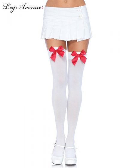 OPAQUE THIGH HIGHS WITH SATIN BOW O-S WHITE-RED