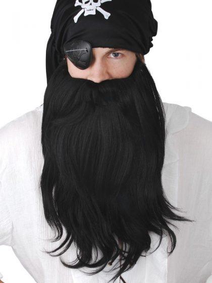 Pirate Beard & moustache Jumbo Set Black