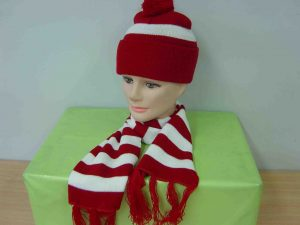 Red White Stripe Wally Hat and Scarf Set