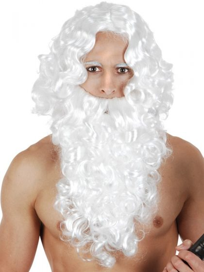 White Curly Wig & Beard