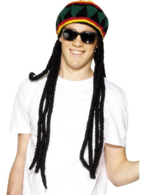 rasta braids with beret