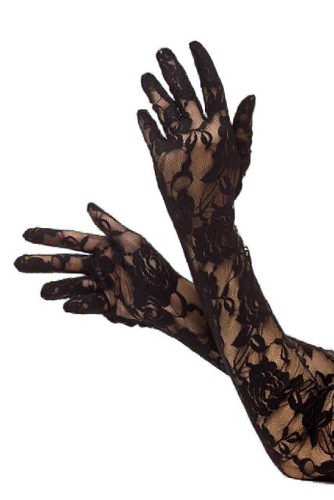 long lace black gloves