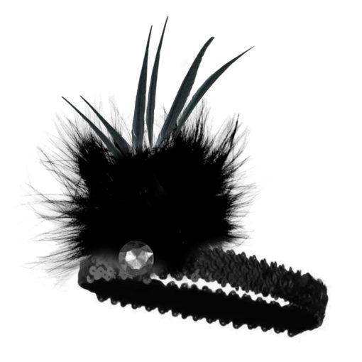 20s flapper headband black