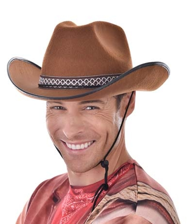 Brown cowboy hat with woven band