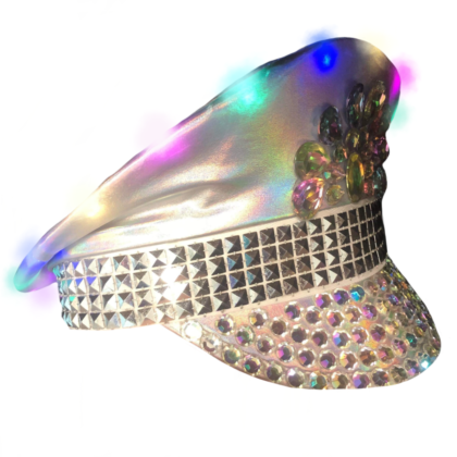 Light up white and silver cap