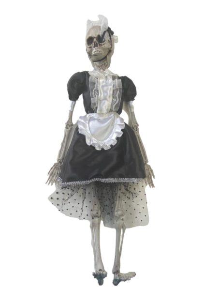 mini skeleton french maid decoration