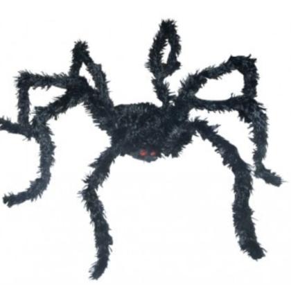 Large black posable spider