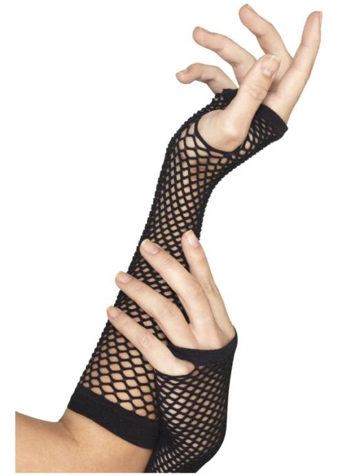 Black fishnet gloves