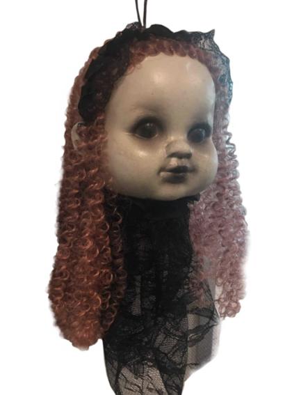 hanging doll head decoration