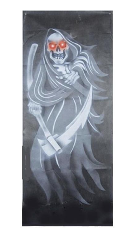 Grim Reaper door curtain with flashing eyes